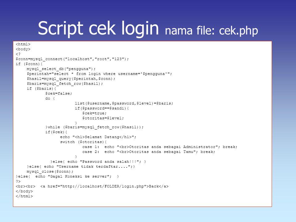 Script cek login nama file: cek.php