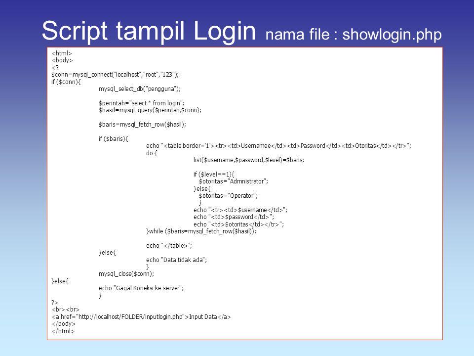 Script tampil Login nama file : showlogin.php