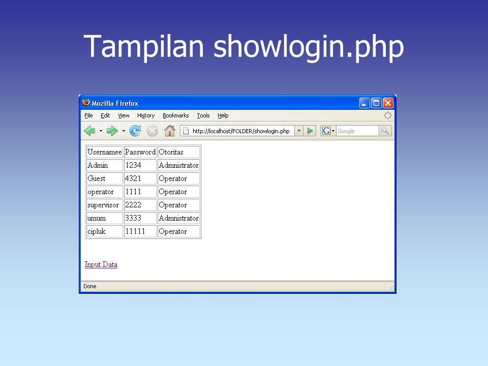Tampilan showlogin.php