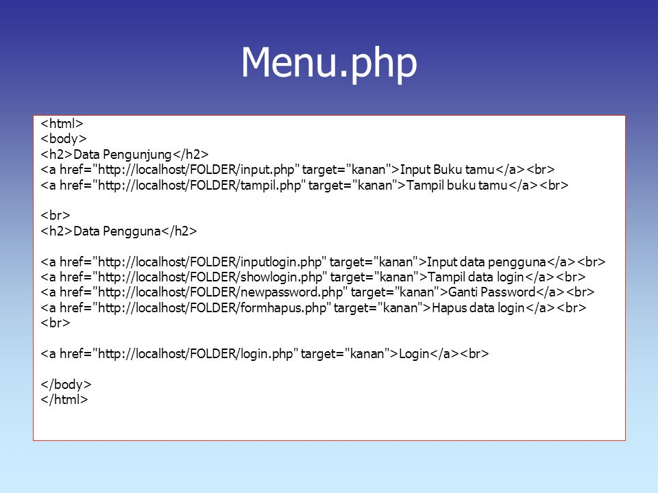 Menu.php <html> <body>
