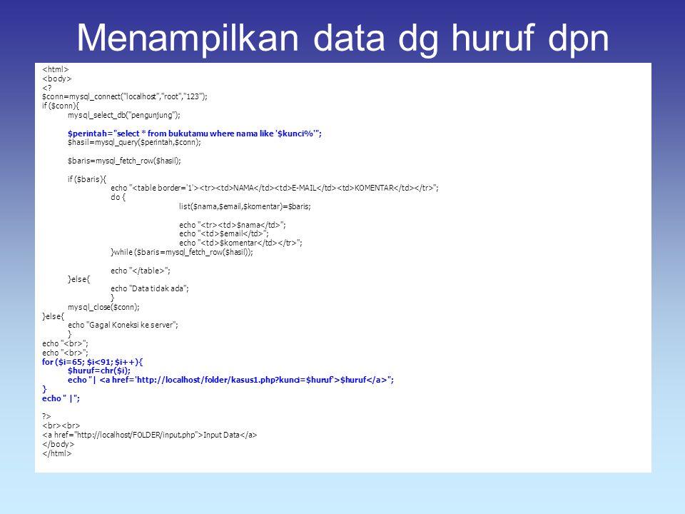Menampilkan data dg huruf dpn