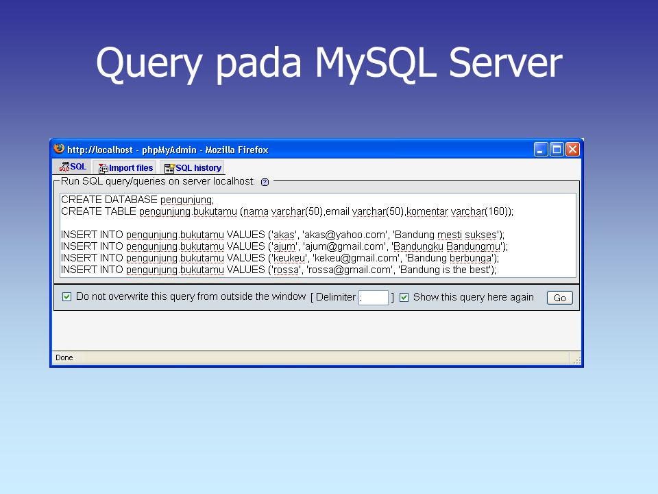 Query pada MySQL Server