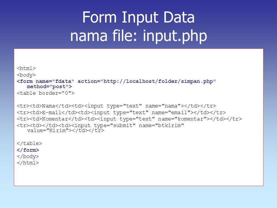 Form Input Data nama file: input.php
