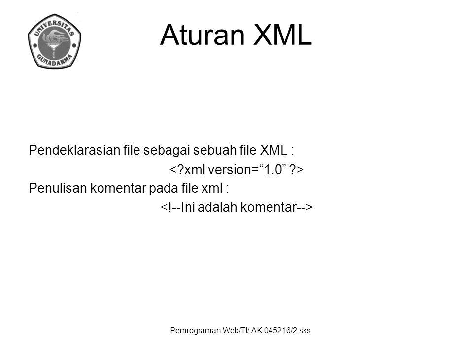 Aturan XML Pendeklarasian file sebagai sebuah file XML :
