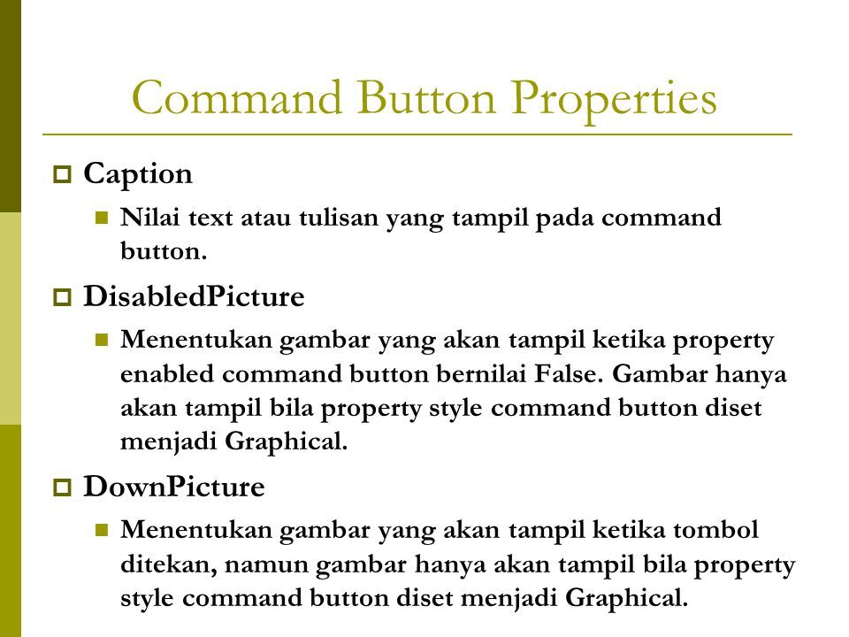 Command Button Properties