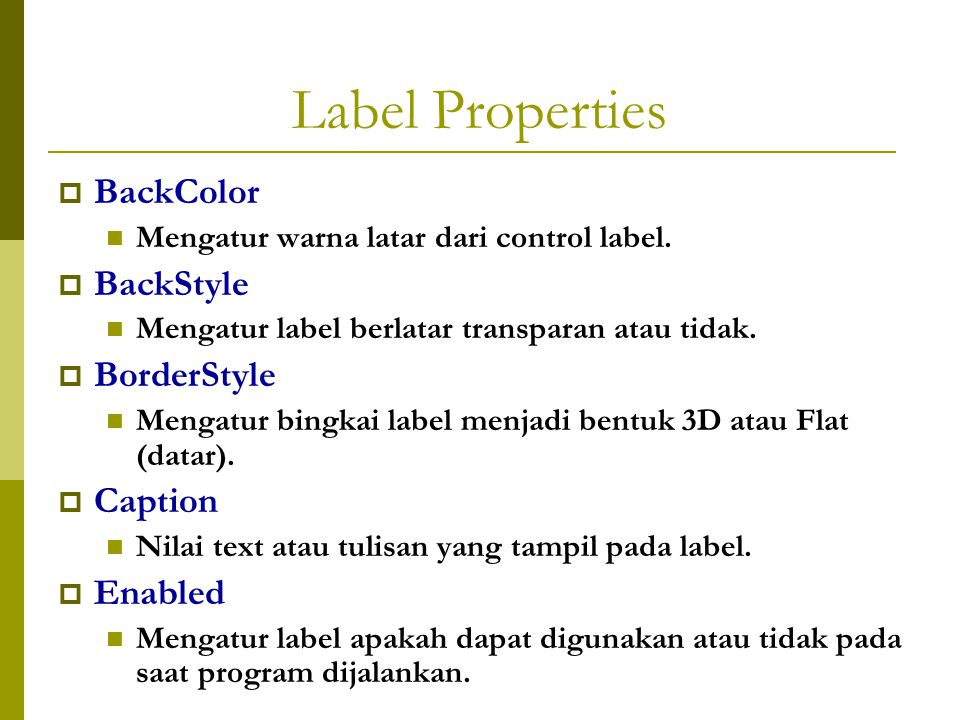Label Properties BackColor BackStyle BorderStyle Caption Enabled