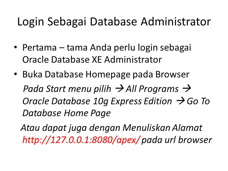Login Sebagai Database Administrator