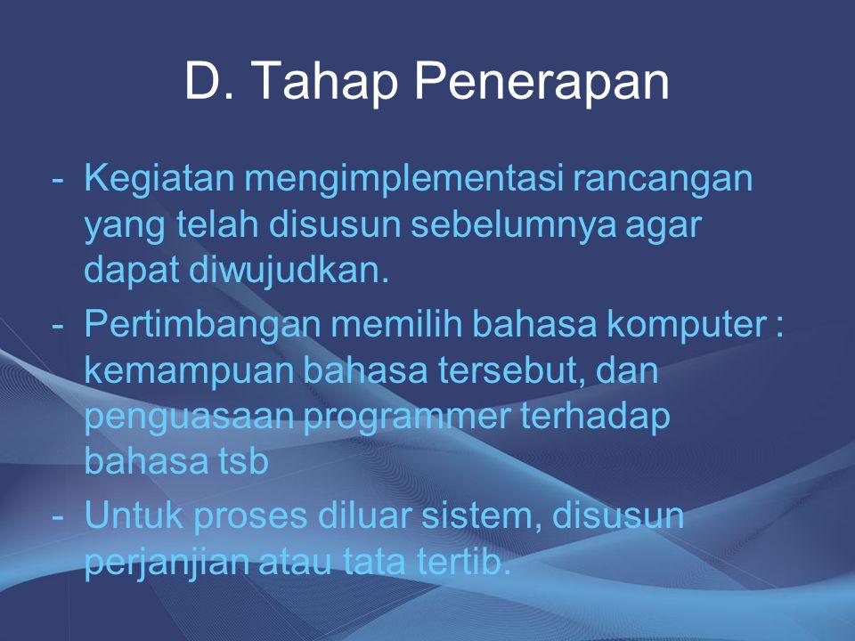 D. Tahap Penerapan Kegiatan mengimplementasi rancangan yang telah disusun sebelumnya agar dapat diwujudkan.