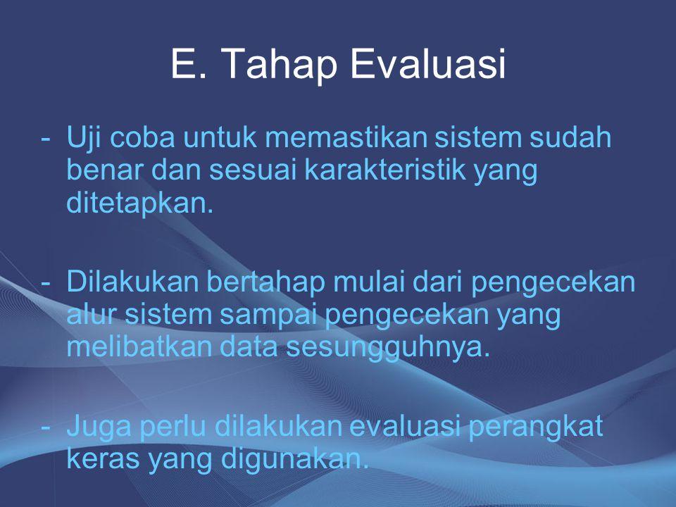E. Tahap Evaluasi Uji coba untuk memastikan sistem sudah benar dan sesuai karakteristik yang ditetapkan.