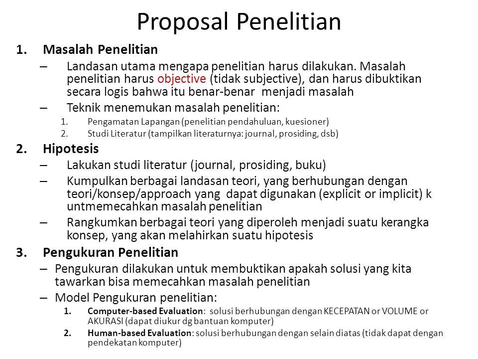 Proposal Penelitian Masalah Penelitian Hipotesis Pengukuran Penelitian
