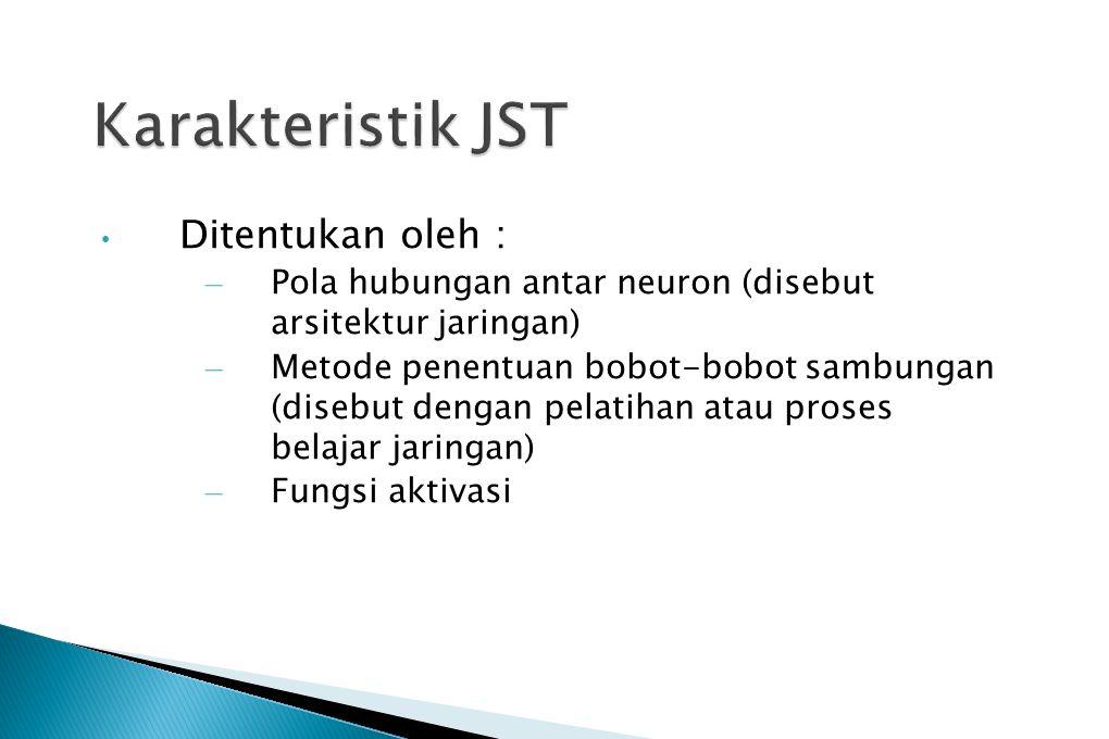 Karakteristik JST Ditentukan oleh :