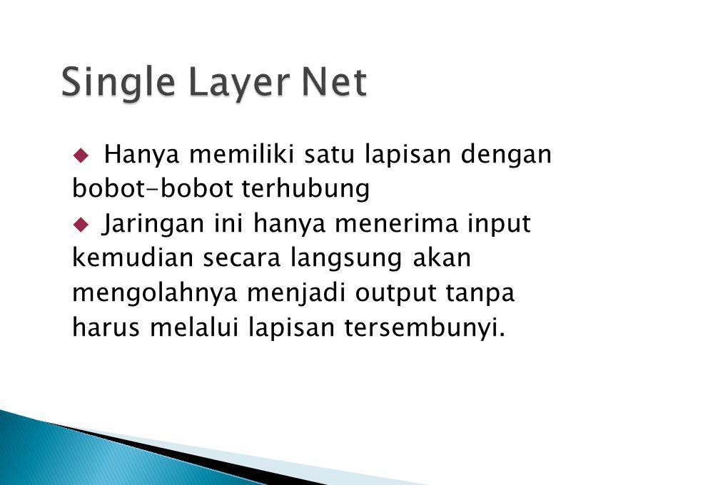 Single Layer Net Hanya memiliki satu lapisan dengan