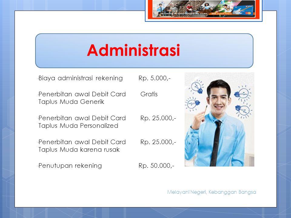 Administrasi - Biaya administrasi rekening Rp. 5.000,-