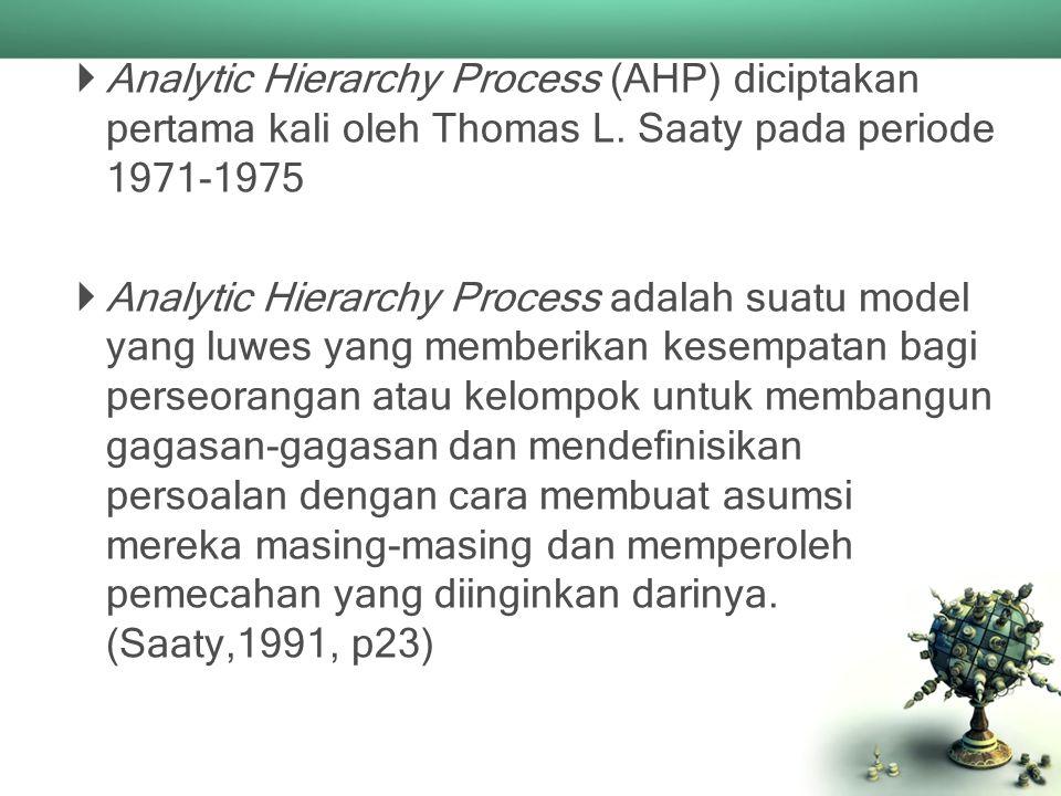 Analytic Hierarchy Process (AHP) diciptakan pertama kali oleh Thomas L