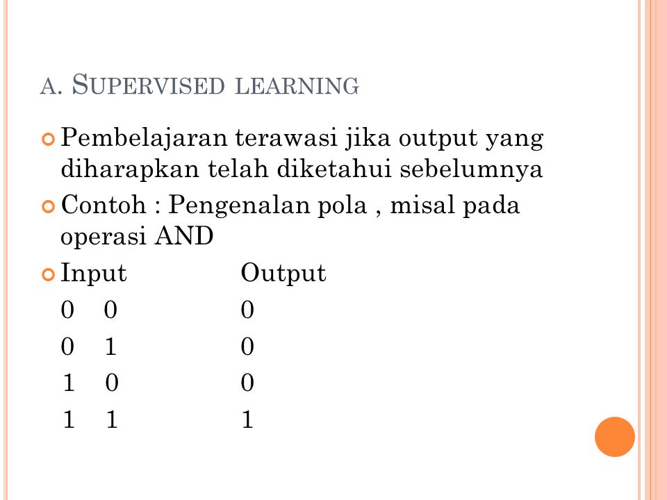 a. Supervised learning Pembelajaran terawasi jika output yang diharapkan telah diketahui sebelumnya.