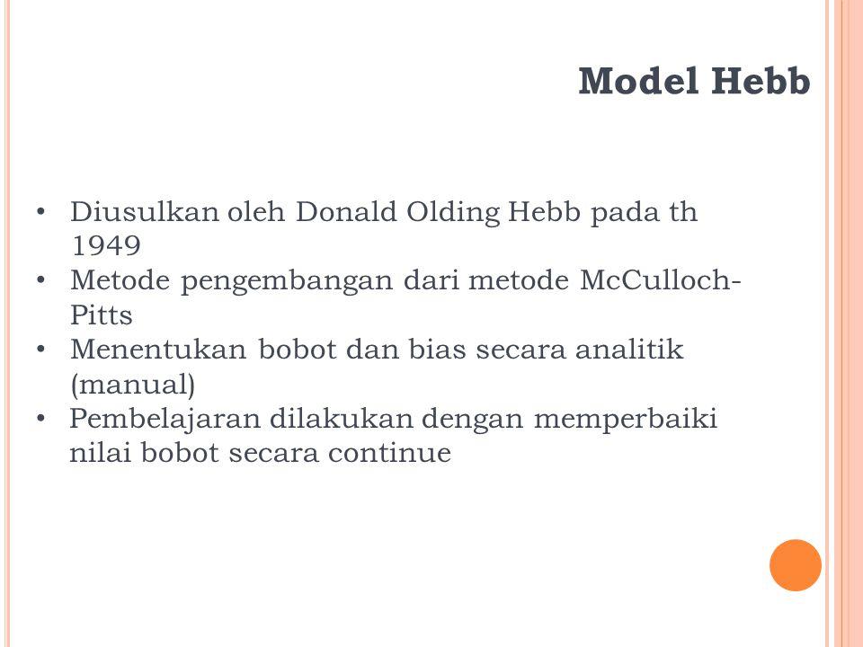 Model Hebb Diusulkan oleh Donald Olding Hebb pada th 1949