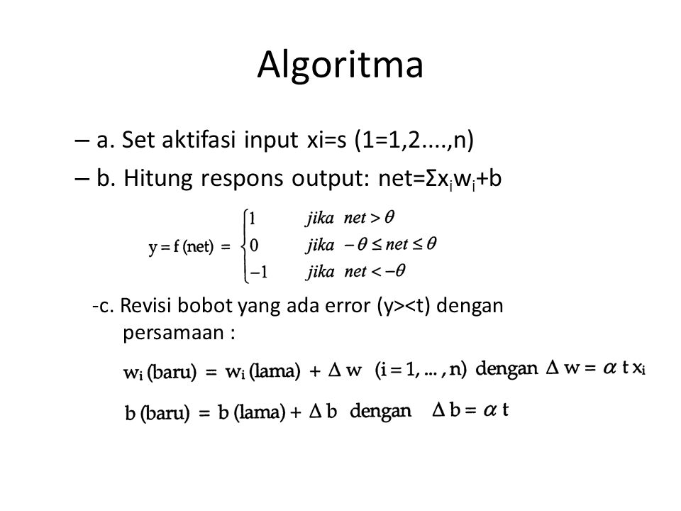 Algoritma a. Set aktifasi input xi=s (1=1,2....,n)