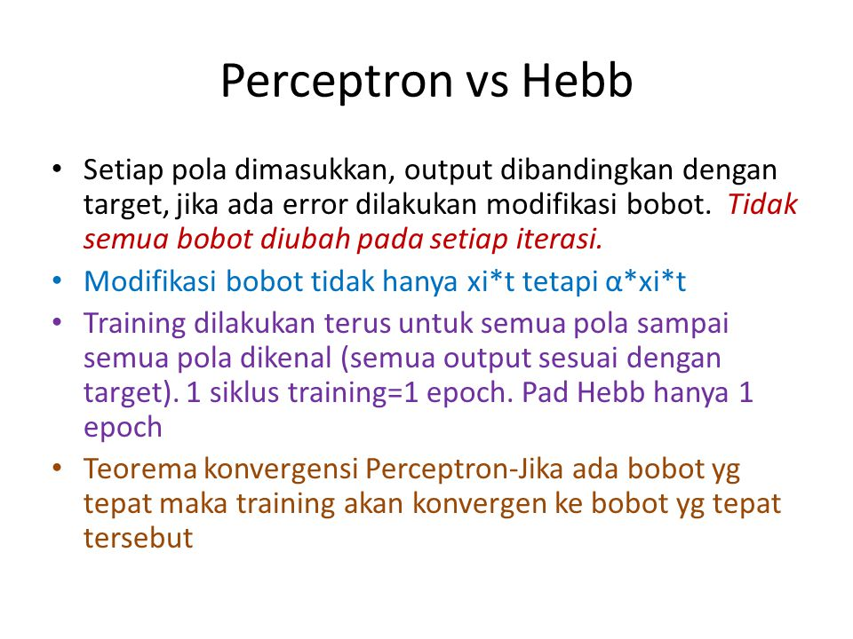 Perceptron vs Hebb