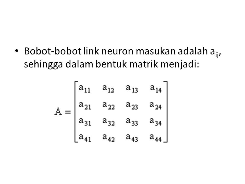 Bobot-bobot link neuron masukan adalah aij, sehingga dalam bentuk matrik menjadi:
