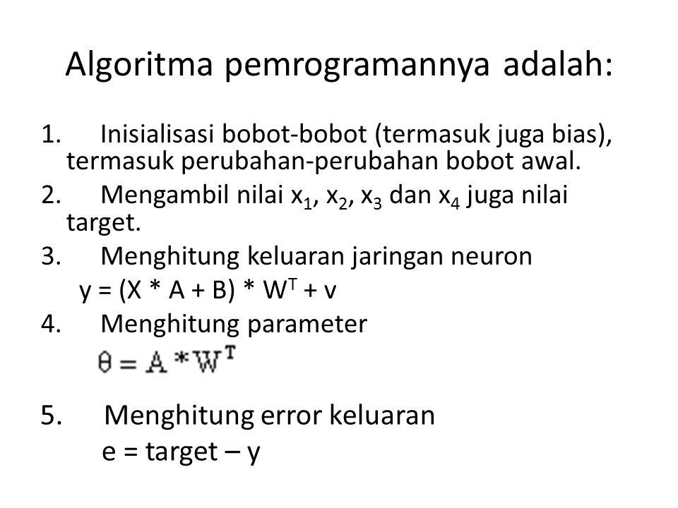 Algoritma pemrogramannya adalah: