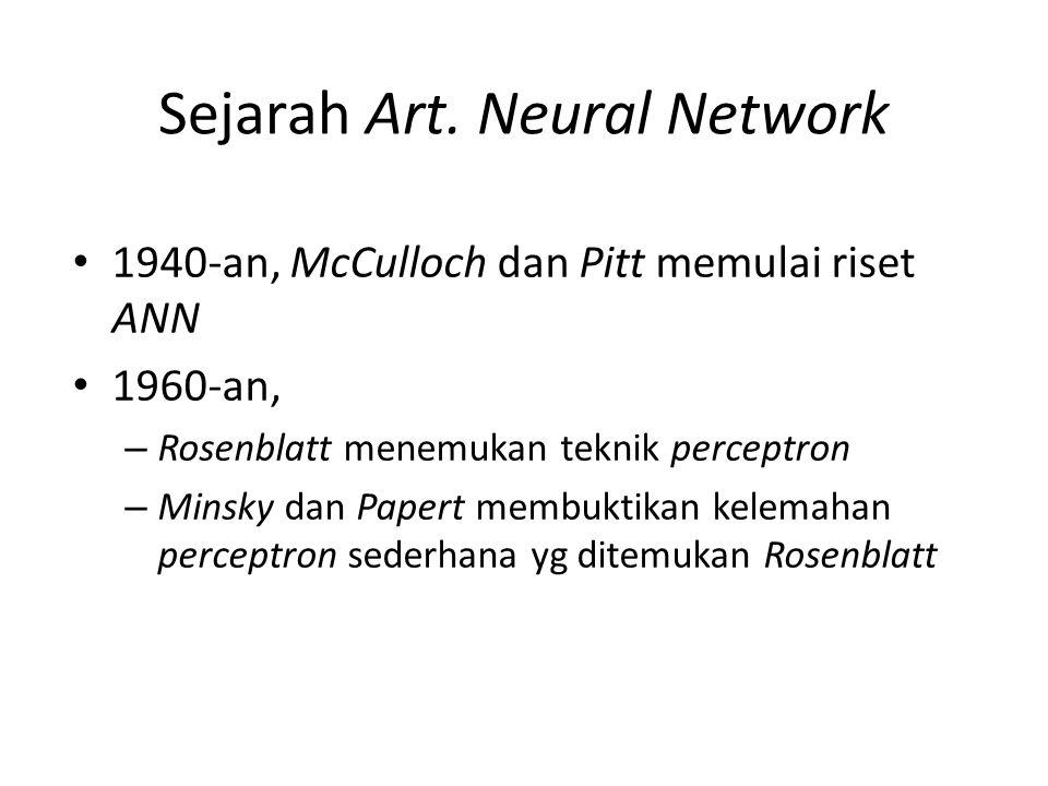 Sejarah Art. Neural Network