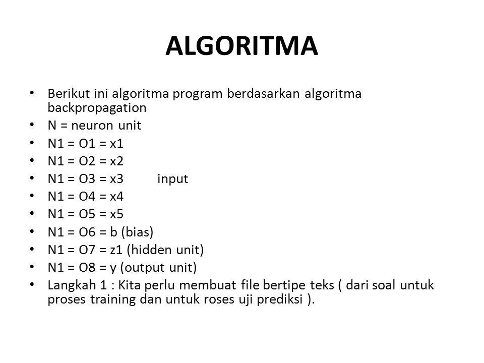 ALGORITMA Berikut ini algoritma program berdasarkan algoritma backpropagation. N = neuron unit. N1 = O1 = x1.