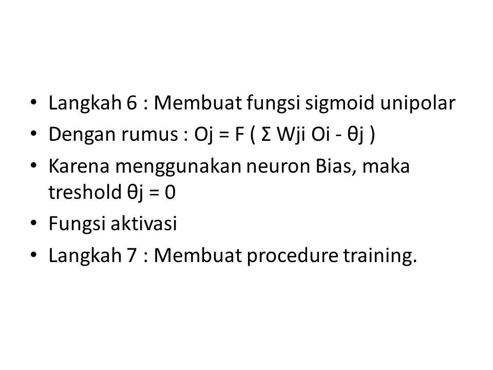 Langkah 6 : Membuat fungsi sigmoid unipolar