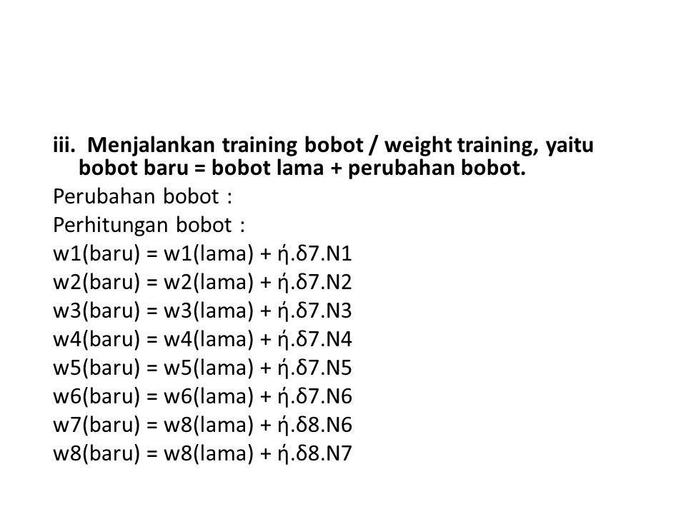 iii. Menjalankan training bobot / weight training, yaitu bobot baru = bobot lama + perubahan bobot.