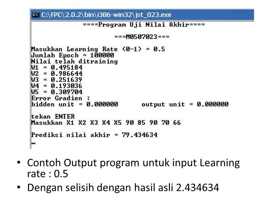 Contoh Output program untuk input Learning rate : 0.5