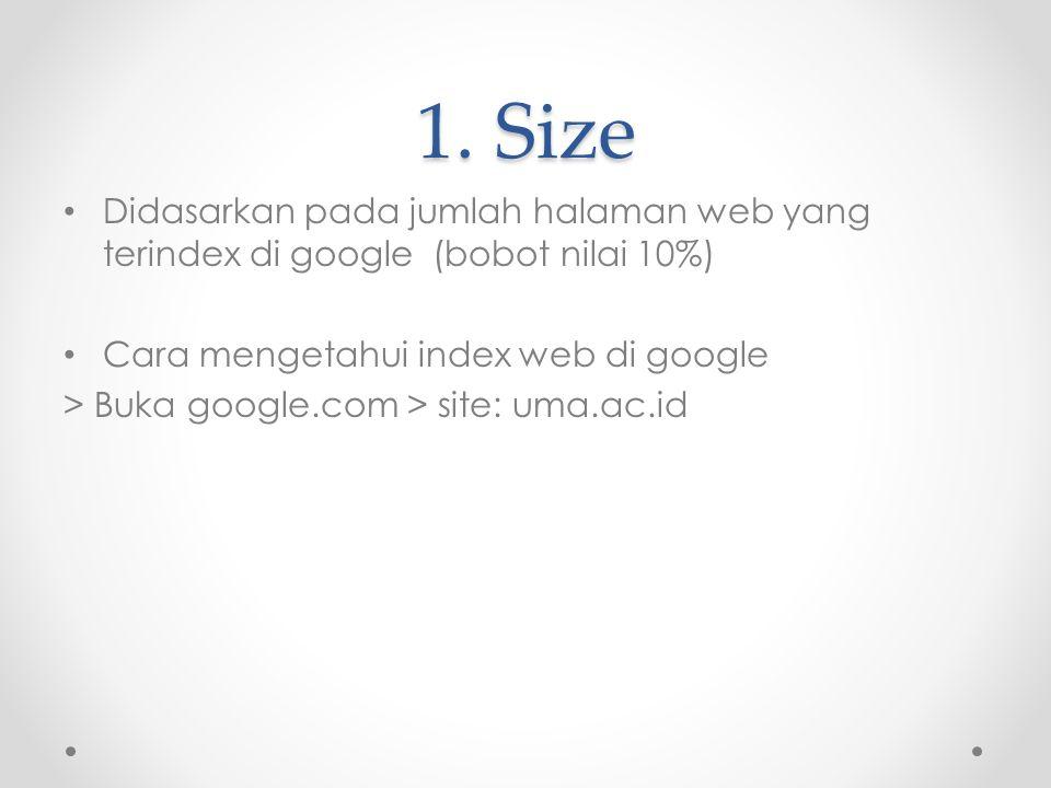 1. Size Didasarkan pada jumlah halaman web yang terindex di google (bobot nilai 10%) Cara mengetahui index web di google.