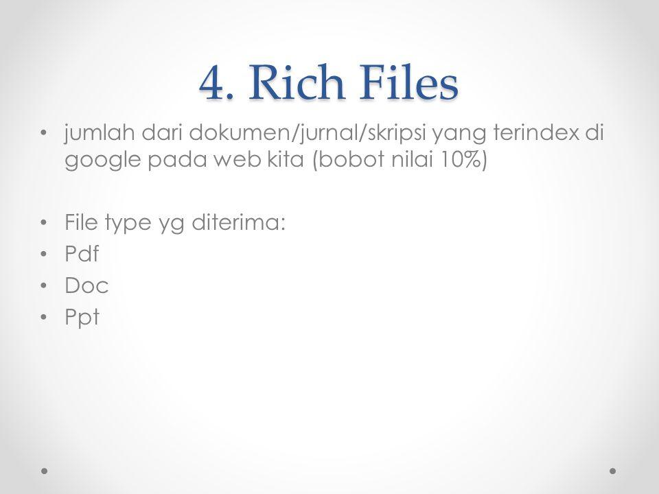 4. Rich Files jumlah dari dokumen/jurnal/skripsi yang terindex di google pada web kita (bobot nilai 10%)