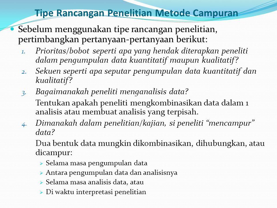 Tipe Rancangan Penelitian Metode Campuran