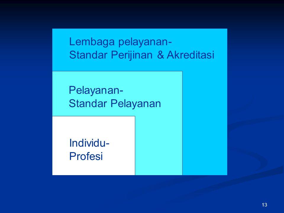 Lembaga pelayanan- Standar Perijinan & Akreditasi Pelayanan- Standar Pelayanan Individu- Profesi