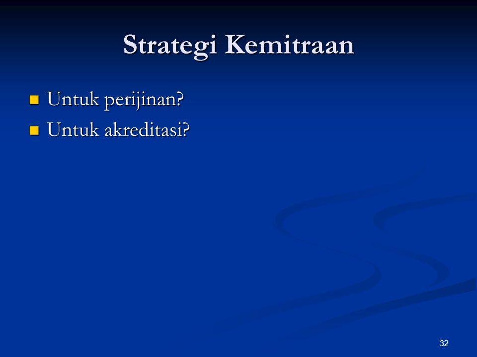 Strategi Kemitraan Untuk perijinan Untuk akreditasi