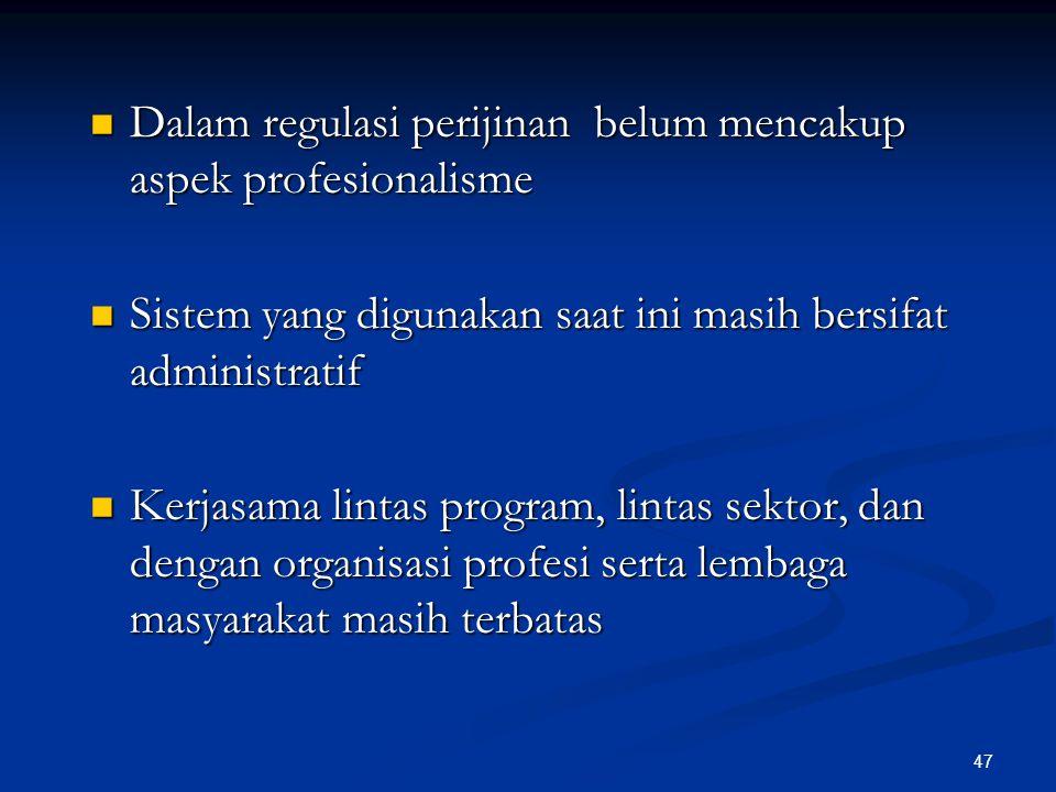 Dalam regulasi perijinan belum mencakup aspek profesionalisme