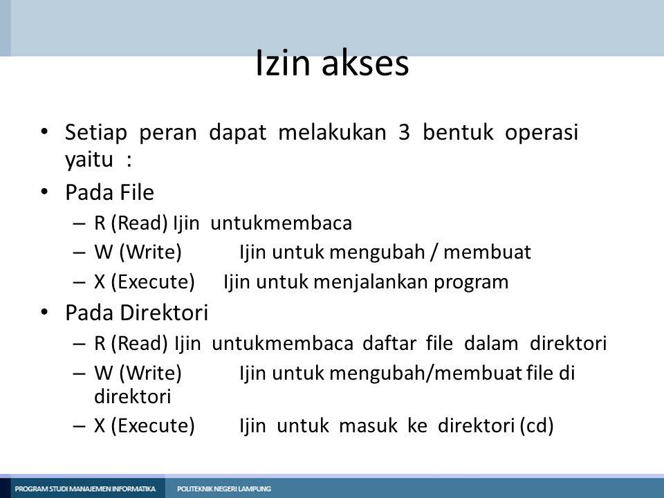 Izin akses Setiap peran dapat melakukan 3 bentuk operasi yaitu :