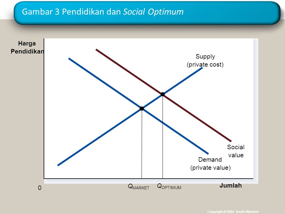 Gambar 3 Pendidikan dan Social Optimum