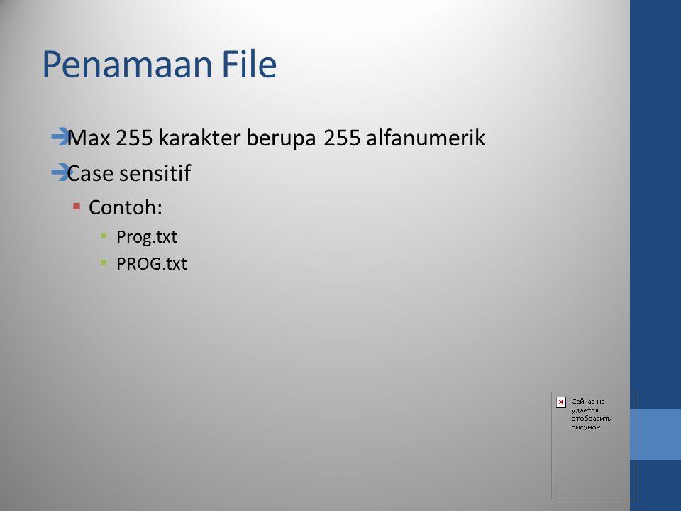 Penamaan File Max 255 karakter berupa 255 alfanumerik Case sensitif
