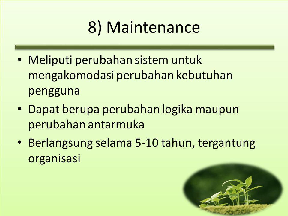 8) Maintenance Meliputi perubahan sistem untuk mengakomodasi perubahan kebutuhan pengguna. Dapat berupa perubahan logika maupun perubahan antarmuka.