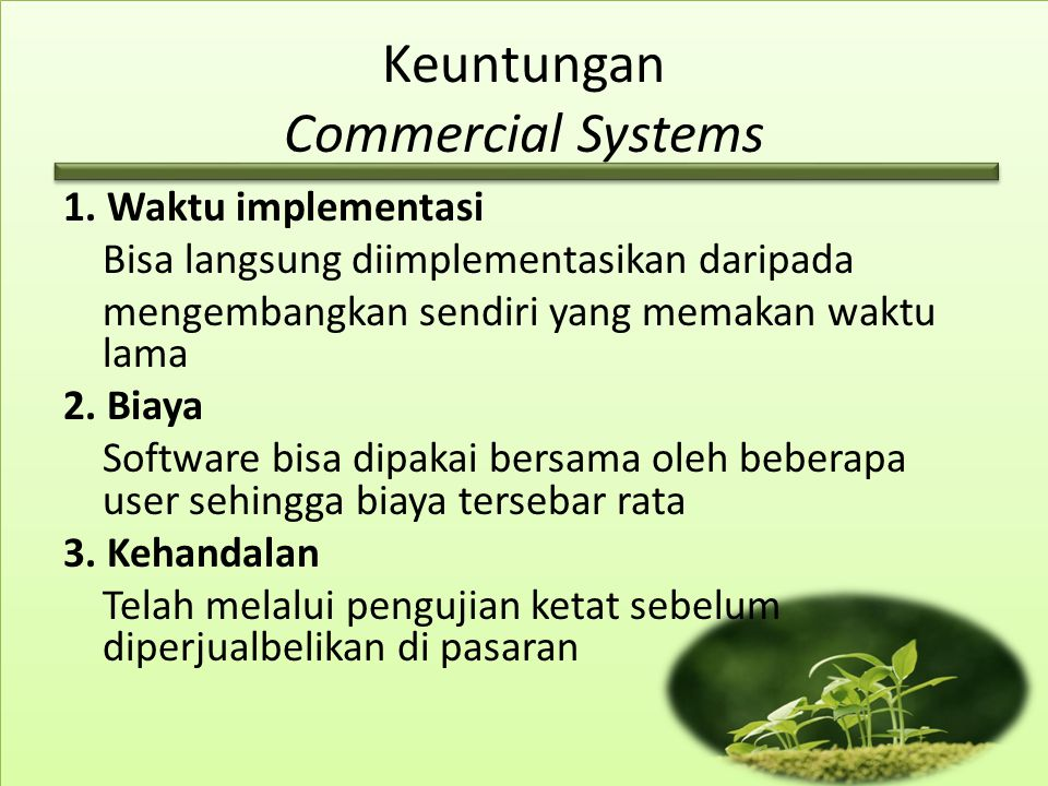 Keuntungan Commercial Systems
