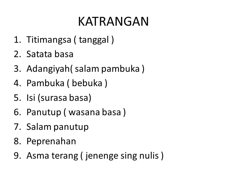 KATRANGAN Titimangsa ( tanggal ) Satata basa