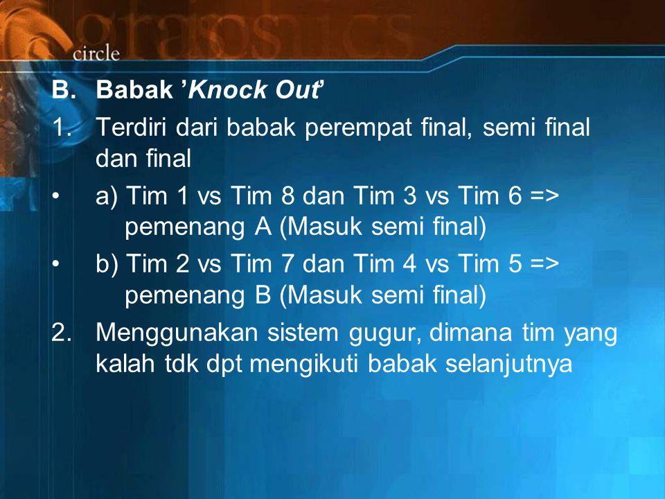 Babak 'Knock Out' 1. Terdiri dari babak perempat final, semi final dan final.