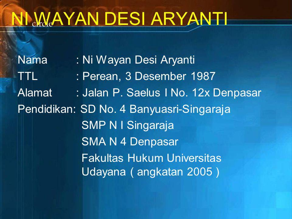 NI WAYAN DESI ARYANTI Nama : Ni Wayan Desi Aryanti