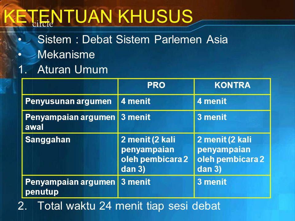KETENTUAN KHUSUS Sistem : Debat Sistem Parlemen Asia Mekanisme
