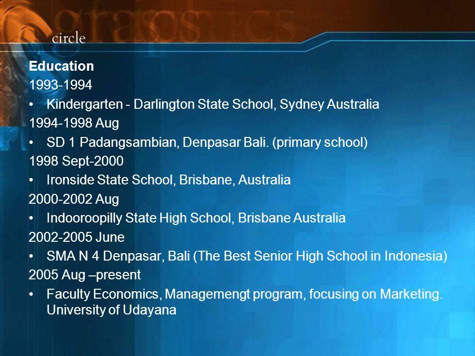 Education 1993-1994. Kindergarten - Darlington State School, Sydney Australia. 1994-1998 Aug. SD 1 Padangsambian, Denpasar Bali. (primary school)