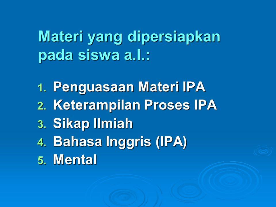 Materi yang dipersiapkan pada siswa a.l.: