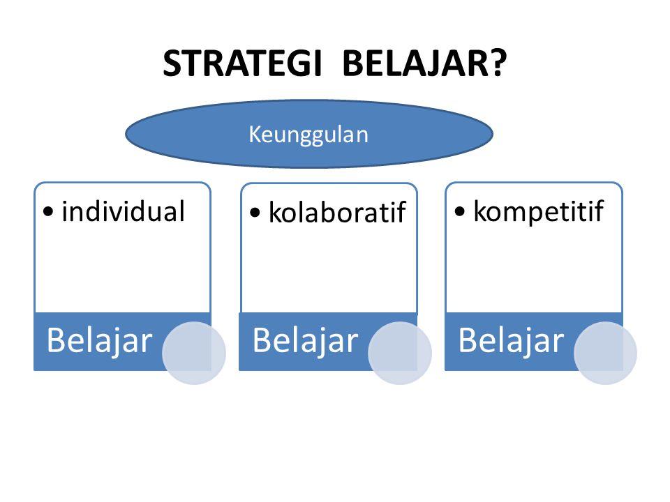 STRATEGI BELAJAR Keunggulan Belajar individual kolaboratif kompetitif