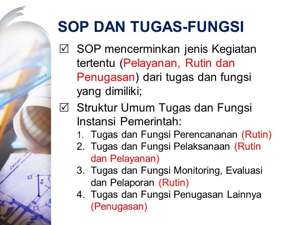 SOP DAN TUGAS-FUNGSI SOP mencerminkan jenis Kegiatan tertentu (Pelayanan, Rutin dan Penugasan) dari tugas dan fungsi yang dimiliki;