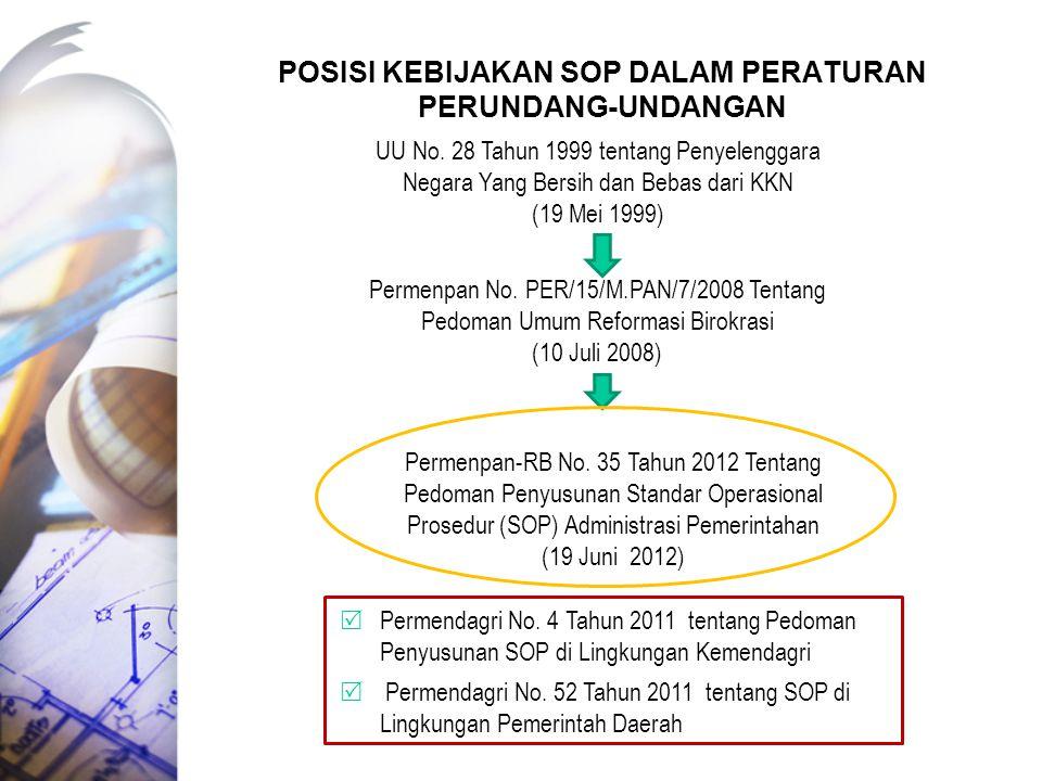Posisi kebijakan SOP dalam peraturan perundang-undangan
