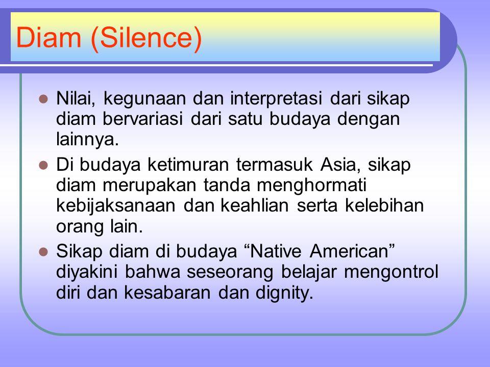 Diam (Silence) Nilai, kegunaan dan interpretasi dari sikap diam bervariasi dari satu budaya dengan lainnya.